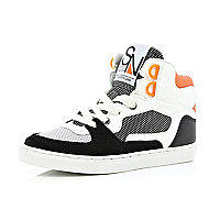 Boys white contrast panel high tops