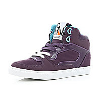 Boys purple contrast lace high tops