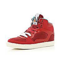 Boys red contrast lace high tops