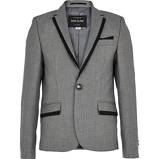 Boys grey contrast trim pocket suit jacket