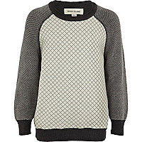 Boys grey quilted front jumper