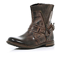 Boys brown biker boots