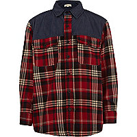 Boys red check contrast yoke oversized shirt
