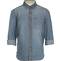 Boys blue geometric print denim shirt