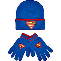 Boys blue Superman beanie and gloves set