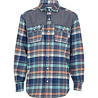 Boys blue check contrast yoke shirt