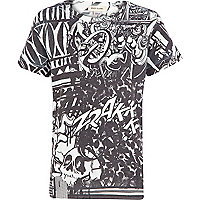 Boys black graffiti sublimation print t-shirt