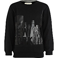 Boys black New York gloss print sweatshirt