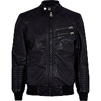 Boys black leather look bomber jacket