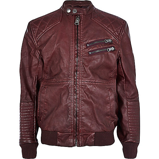 Boys red leather look bomber jacket