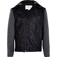 Boys black jersey sleeve biker jacket
