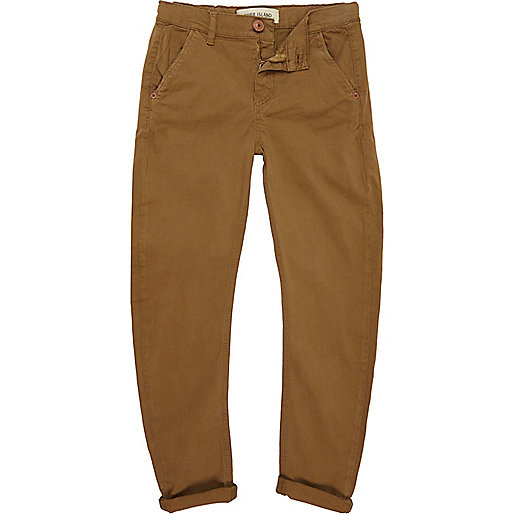 Boys beige skinny tapered chinos