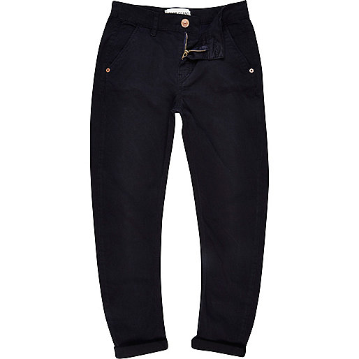 Boys navy skinny tapered chinos