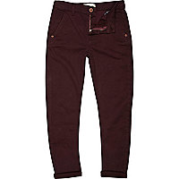 Boys dark red skinny tapered chinos