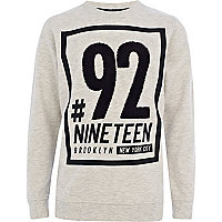 Boys ecru number 92 print sweatshirt