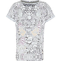 Boys white sketch print t-shirt