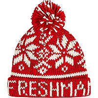 Boys red Freshman fairisle bobble hat