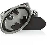 Boys black Batman plate belt