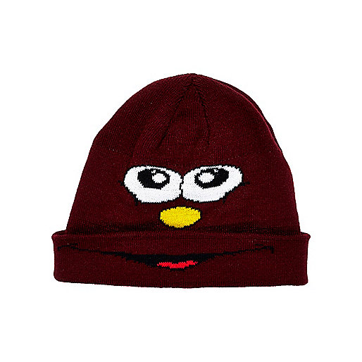 Boys dark red face beanie hat