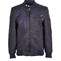 Boys navy leather look bomber jacket