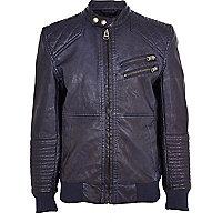 Boys navy leather look bomber jacket