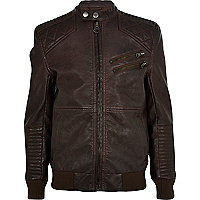 Boys brown leather look bomber jacket