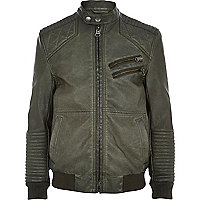 Boys green leather look biker jacket