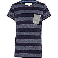 Boys navy contrast stripe t-shirt