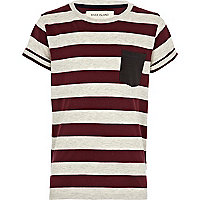 Boys red contrast stripe t-shirt