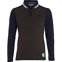 Boys navy contrast long sleeve polo shirt