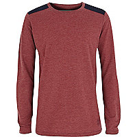 Boys red marl shoulder patch top