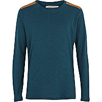 Boys teal shoulder patch top