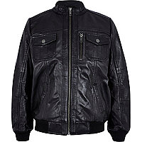 Boys black leather bomber jacket