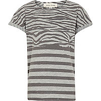 Boys grey zebra print t-shirt