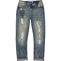 Boys worn vintage wash tapered jeans