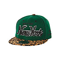 Boys green leopard New York trucker hat