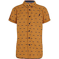 Boys yellow moustache print shirt