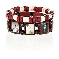 Boys red icon stretch bracelet pack