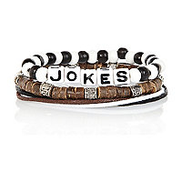 Boys black jokes bracelet pack