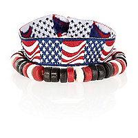 Boys red stars and stripes bracelet pack