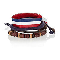 Boys red stripes bracelet pack