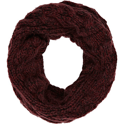 Boys dark red cable knit snood