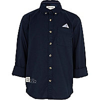 Boys navy spot pocket square shirt