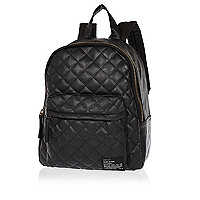 Boys black leather look quilted rucksack