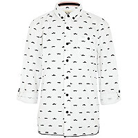Boys white moustache print shirt