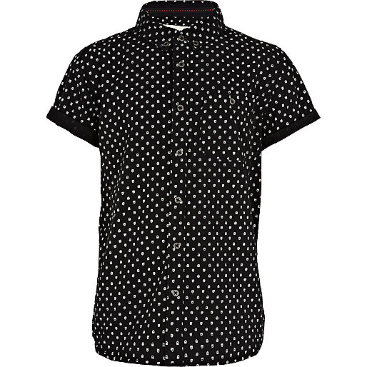 Boys black skull print shirt