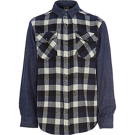 Boys blue denim check mix shirt