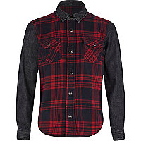 Boys red denim check mix shirt