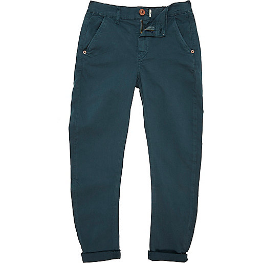 Boys teal skinny tapered chinos