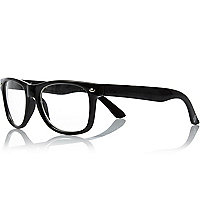 Boys black clear lense retro geek glasses